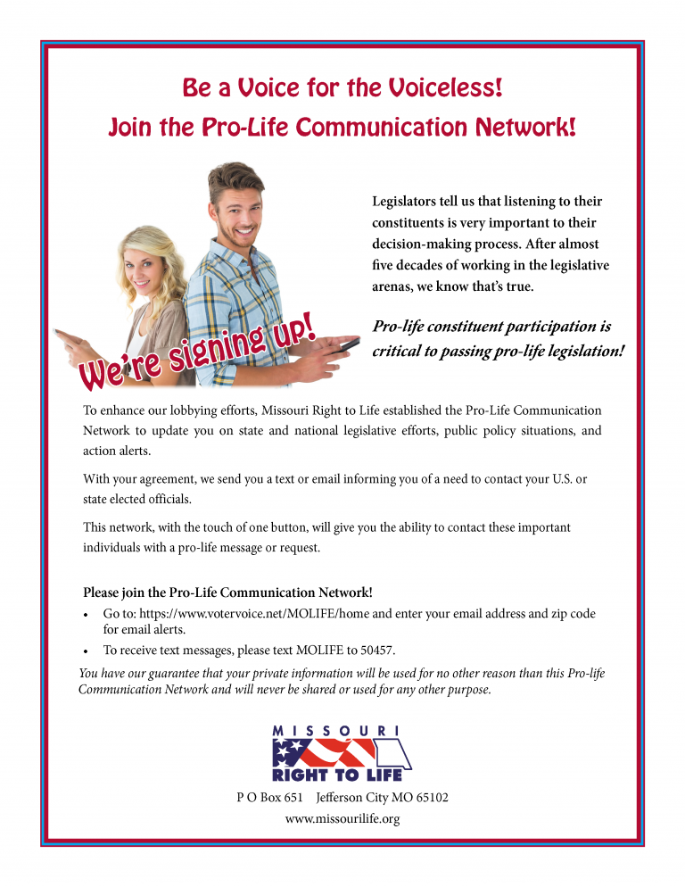Pro-Life Communication Network Sign up form