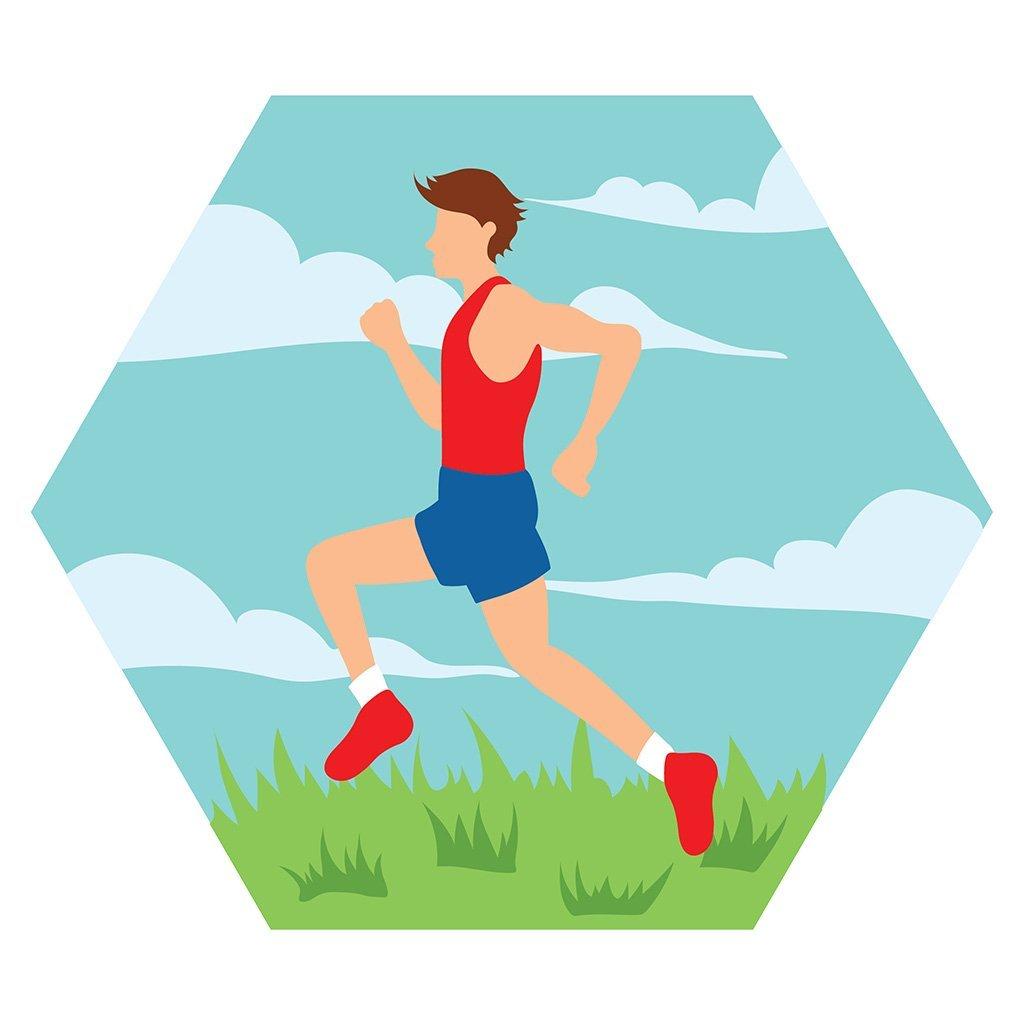 Cartoon male running a race.