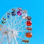 Ferris Wheel with a bright blue sky